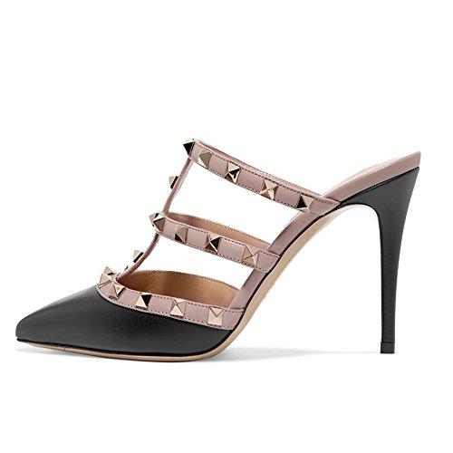 Amrantos Frauen Sommer verzierte Riemen Sandalen Stiletto Heel mit Slip auf täglichen Party Schuhe Größe Schwarz 38 EU