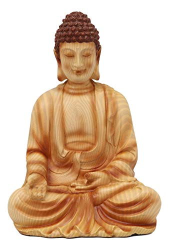 Ebros Eastern Enlightenment Meditating Buddha Gautama Amitabha in Varada Mudra Pose Statue in Rustic Faux Wood Resin Finish for Home Altar Zen Feng Shui Decoration Housewarming Decor Sculpture