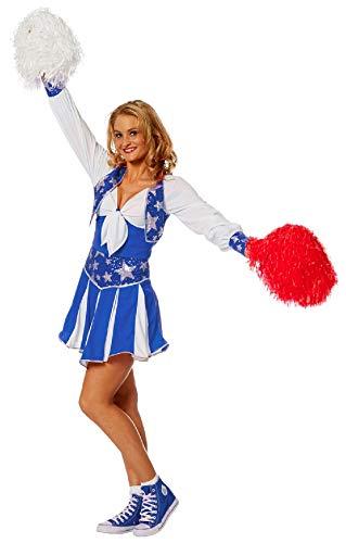 narrenkiste W4182-B-34 blau-weiß Damen Cheerleader Tänzer Trikot Kostüm Gr.34