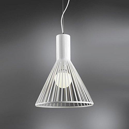 ONLI - lampe à suspension/lustre Tommy. Structure en métal de forme conique. Style moderne, industriel, urban et original. Idéal pour salon, cuisine et chambre. 1 x E27 couleur blanc
