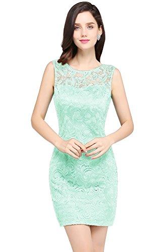 MisShow Damen A-Linie Spitzen Kurzes Abendkleid Spitze Brautkleid Mintgruen 42