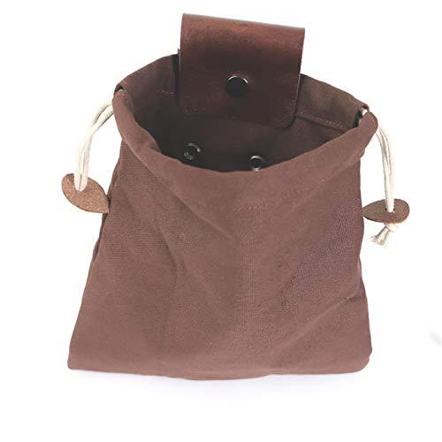 Taloit Bolsa de lona encerada para exteriores, gran capacidad, portátil, para colgar en la cintura, para senderismo, viajes en el campo