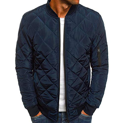 Mens Flight Bomber Jacket Diamond Quilted Varsity Jackets Winter Warm Padded Coats Outwear
