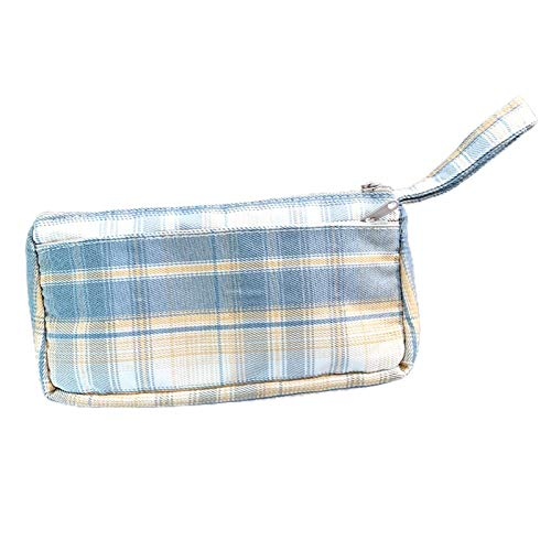 Coalar Estuche de alta capacidad de doble capa, para estudiantes, de tela, para artículos de papelería, 10,5 x 22 cm, color azul y amarillo