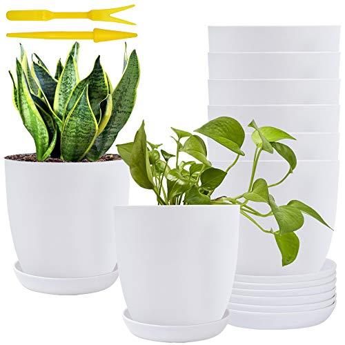6Inch Plastic Planters White Modern Gardening Plant Pots Matte...