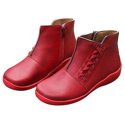 Teekit - Raquetas de Nieve para Mujer, de Piel sintética, con Cordones, con Tapa Redonda, Rojo, 38