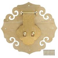 木製ボックスラッチ装飾ハスプ、アンティークロッキングバックルハスプロック真鍮中国家具ハードウェアフィッティング