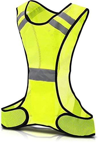 AIlysa 1 x Chaleco Reflectante, Chaleco Reflectante Moto Alta Visibilidad Elástica Ajustable, Adecuado para Correr, Trotar, Practicar Senderismo, Ciclismo (Universal) (1pcs)