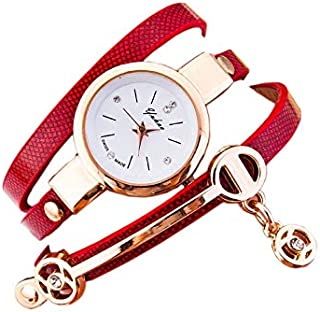 Wrist Watches for women, Red leather strap