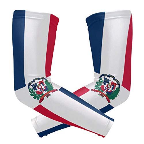 BJAMAJ Dominicaanse Republiek Vlag UV Bescherming Koeling Arm Mouwen Arm Cover Zonbescherming voor Mannen & Vrouwen Jeugd Prestaties Stretch & Vocht Wicking
