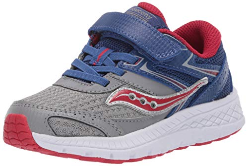 Saucony Boys' Cohesion 13 A/C Sneaker, Blue/Grey/Red, 11 Wide