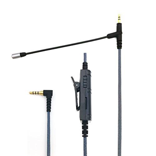 sukira Boom Gaming Mikrofon für PS4, Xbox One, PC, iPhone, Android Telefon zu Sennheiser Momentum/Momentum 2.0/HD1Headset mit Lautstärkeregler, Mute VoIP Mikrofon (150cm)