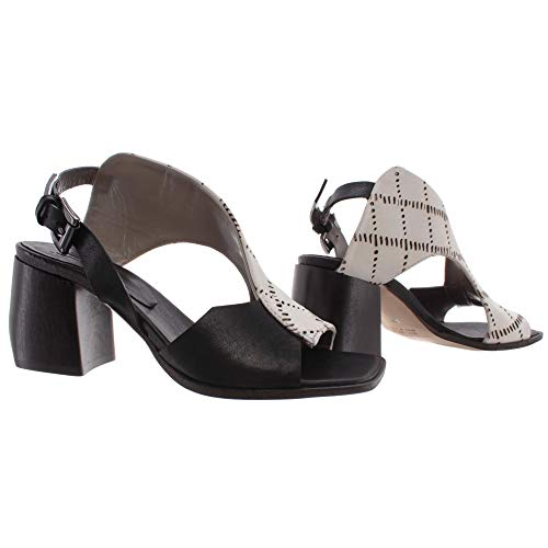 IXOS Damen Schuhe Sandalen Ferse Weiss Schwarz Leder Made In Italy Neu