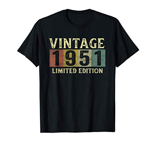 Vintage 1951 70 Anni Compleanno Uomo Donna Regalo Divertente Maglietta