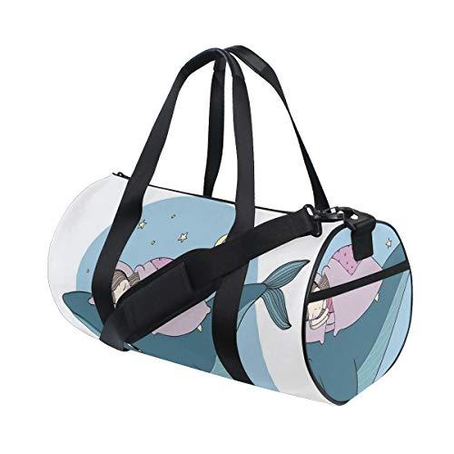 ZOMOY Sporttasche,Hand gezeichnetes Art kleines Mädchen schläft auf Wal gemütlichem Bett Nachtmeer,Neue Bedruckte Eimer Sporttasche Fitness Taschen Reisetasche Gepäck Leinwand Handtasche