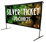 Silver Ticket Products STO Series Indoor/Outdoor 16:9 4K / 8K Ultra HD, HDR & HDTV Ready Movie Projector Screen Front Projection White Material with Black Back, 125' Viewing Diagonal STO-169125