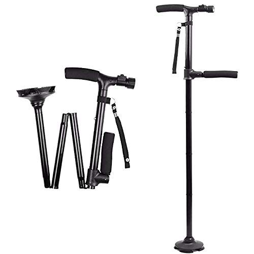 Old Man Walking Stick Multifunctional Aluminum Alloy Four-Foot Walking Stick Folding with Light Up Walking Stick to Help Double Crutches