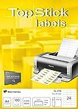 TopStick 8706 - Etiquetas autoadhesivas para direcciones A4 (70 x 37 mm, papel) 100 hojas, 24 etiquetas por hoja, 2400 etiquetas, para impresoras inkjet y láser