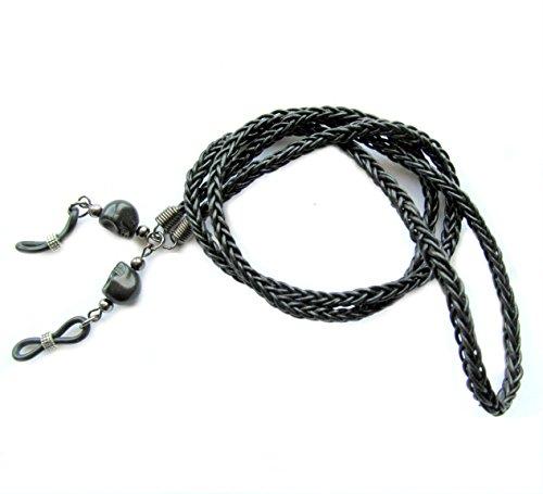Dellenro Leather Skulls Brillenband für Herren, Totenkopfmotiv, Leder, Kordel