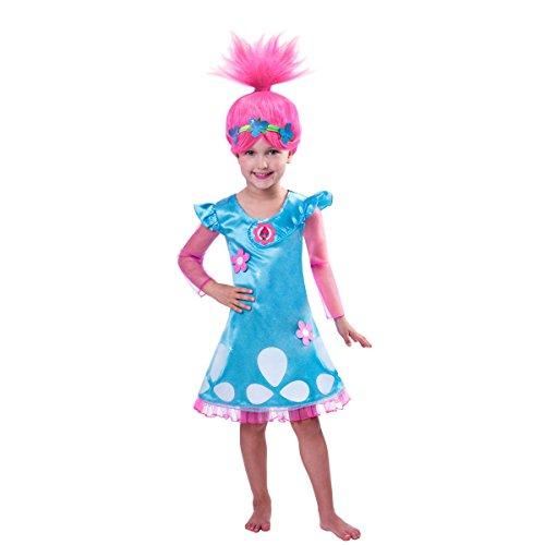 DSJHJRE Kid Childs Meisjes Trolls Poppy Party Verjaardag Cosplay Kostuums Halloween Fancy Jurk met Pruik (Blue2, 120(5-6jaar oud))