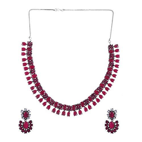Efulgenz Boho Vintage Antique Ethnic Gypsy Indian Oxidized Silver Crystal Cubic Zirconia Bridal Necklace Earrings Jewellery Set