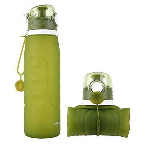 iKiKin Bouteille d'eau Pliable Silicone 1000ml, à l'épreuve des Fuites, sans BPA, FDA Approuvé, Bouteille Sport pour Plein Air, Voyages, Camping, Pique-Nique, Randonnée 1Litre (Vert)