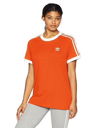 adidas Originals Women's 3 Stripes T-Shirt, Orange, 2XS