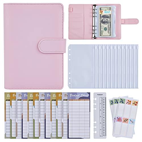 A6 Cash Envelope System Binder - Budgeting Binder Planner w/ 12Pcs Lose Leaf Zipper Pocket & Expense Tracker & Writable Lables, Pink Cash Envelope Budget Wallet Organizer for Money Receipt Coupon