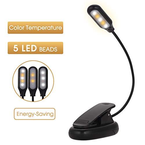 Fulighture LED Klemmleuchte,Leselampe Buch Klemme,USB Wiederaufladbar Klemmleuchte mit 5 LEDs,360°Flexibler Schwanenhals,3 Licht modi,Dimmen,Buchlampe Leselampe für Büro,Buch,eBook Reader,Musikstände