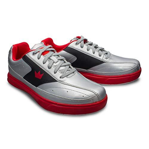 Bowling-Schuhe, Brunswick Renegade, Damen und Herren, für Rechts- und Linkshänder in 4 Farben Schuhgröße 38-47 (Silber/Rot, Numeric_39_Point_5)