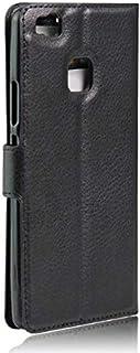 حافظة جلد للهاتف المحمول هواوي بي 9 لايت، غطاء حماية لمحفظة مع نمط ليتشي اسود اللون