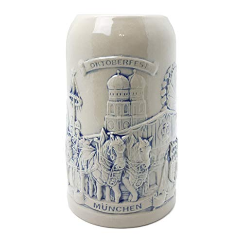 Beer Stein Munich Beer Wagon Stoneware Beer Mug by E.H.G | .5 Liter