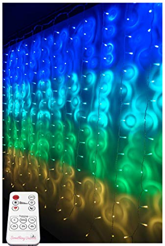 Something Unicorn - Blue&Green Ombre LED String Curtain Lights with Remote for Teen Room, Girls Room, College Dorm, Nursery and Kids Room Décor. Perfect for Forest Fairy Decoration. (Premium Version)