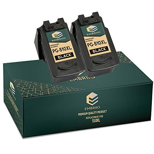 EMBRIIO 2X PG-510XL PG-510 XL Negro Cartuchos de Tinta Reemplazo para Canon Pixma MP495 MP250 MP280 MP270 MP499 MP230 MP272 MX350 MX340 MX410 MP240 MP480 iP2702 MP490 iP2700 MX320 MP260 MX420 MP492