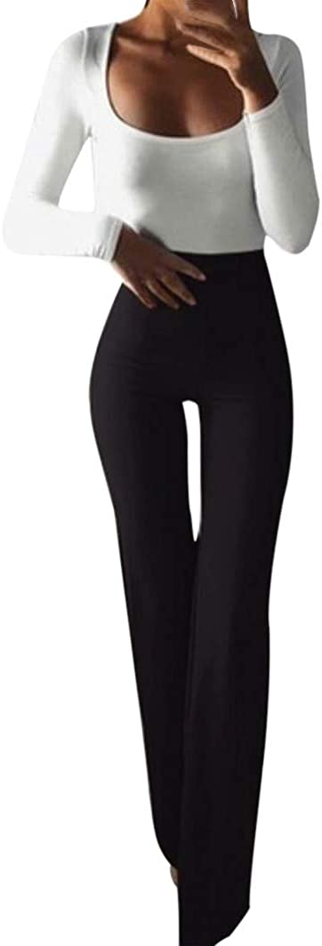 F_Gotal Women's High Waist Solid Color Hippie Wide Leg Flared Bell Bottom Pants Workout Running Athletic Gym Sweatpants