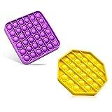 Ideal Swan 2 Fidget Toy Push Pop Bubble Sensory Fidget Toys Antiestres Juguete para Niños Adultos Relajarse (Morado + Amarillo)