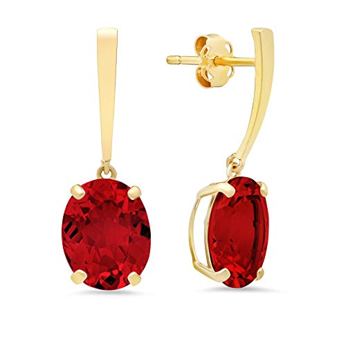 14k Yellow Gold Solitaire Oval-Cut Created Ruby Drop Earrings (10x8mm)
