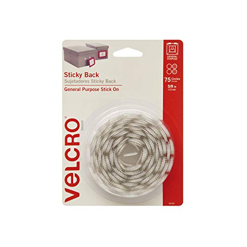 VELCRO Brand - Sticky Back Hook and Loop Fasteners | Perfect for Home or Office | 5/8in Coins | Pack of 75 | White