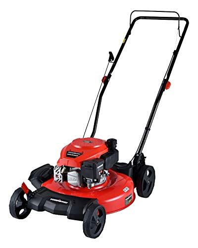 PowerSmart Lawn Mower, 21-inch & 170CC, Gas Powered Push Lawn Mower with 4-Stroke Engine, 2-in-1 Gas Mower in Color Red/Black, 5 Adjustable Heights (1.18''-3.0''), DB2194CR