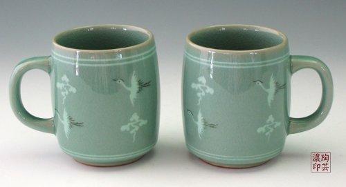 Tasse Porcelaine Ceramique Goryeo Verte Motif Ciel Oiseaux Tradition Thé Coréen