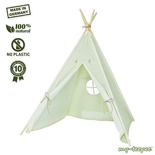 my-teepee, Tente tipi pour garçons ou Filles de 2 à 8 Ans, piquets en épicéa Naturel, Toile 100% Coton, Montage Rapide, Verdure …