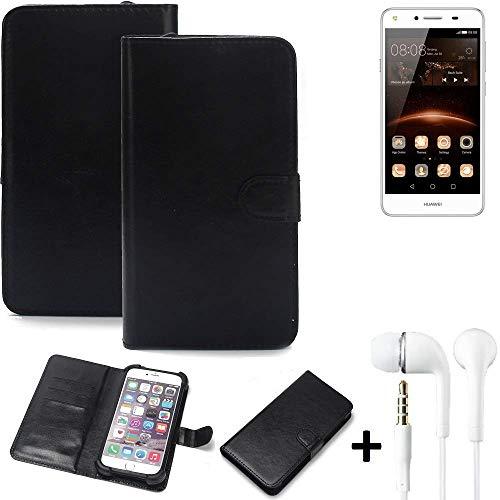 K-S-Trade® Wallet Case Handy Hülle Für Huawei Y5 II Dual-SIM Schutz Hülle Smartphone Flip Cover Flipstyle Tasche Schutzhülle Flipcover Slim Bumper Schwarz + In Ear Headphones