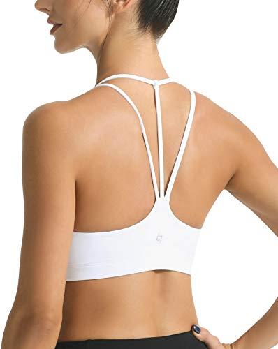 FITTIN Women's Strappy Padded Sports Bra for Women Racer Back Spaghetti Straps Yoga Bra Tops White Medium