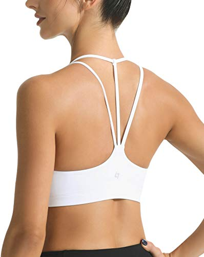 FITTIN Strappy Yoga Sport BHS - Gepolsterter, drahtloser BH f¨¹r Yoga Gym Workout Fitness Weiss M