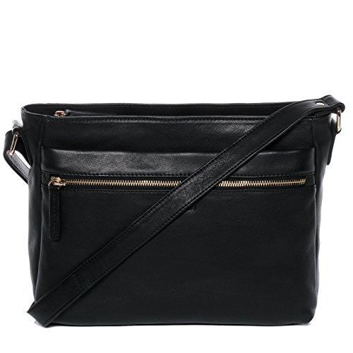 BACCINI® borsa a spalla vera pelle EMELIE grande sacchetto tracolla donna cuoio nero