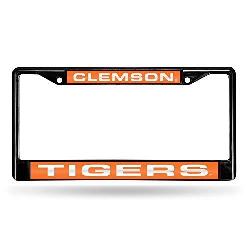 NCAA Rico Industries Laser Cut Inlaid Standard Chrome License Plate Frame, Clemson Tigers Team Color, 6 x 12.25-inches