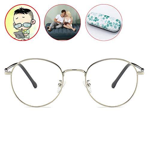 HFSKJ Myopie Brille,Anti-Blu-Ray Kurzsichtige Brille,Metall Retro Brillen,Silberrahmen Nerd Brille -0,5 Bis -6,0 Stärke,Negative 0.5