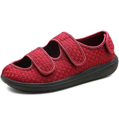 Hombre Sandalias Diabéticas Mujer Zapatillas Zapatos Diabeticos Antibacteriano Sanitized Ajustable Edema Zapatos hinchados Extra Ancha Zapatillas Adulto-Unisex,Rojo,39 EU