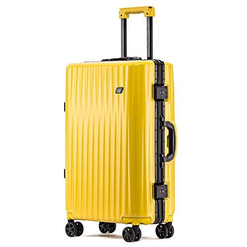 ボンイージ(bonyage) スーツケース アルミフレーム 耐衝撃 キャリーケース 機内持込 キャリーケース 軽量 キャリーバッグ 人気 大型 TSAロック付き 静音 旅行出張 サメの歯形 1年保証 イエロー Yellow XLサイズ 約74L