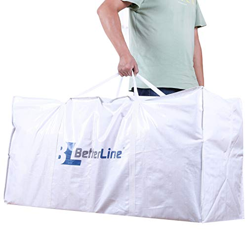 BETTERLINE Extra Large Storage Bag - Heavy Duty 45x22x16 Inches Huge Tote Duffel with Max Load of 100 lbs. (45kg) - Tear-Resistant & Water-Resistant Polypropylene Woven Cloth, with Zippers